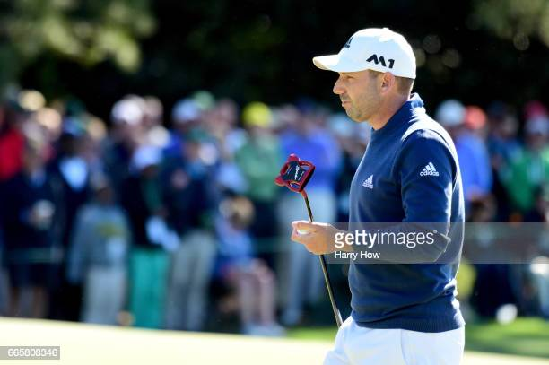 Sergio Garcia of Spain reacts to making birdie on the first hole during the second round of the 2017 Masters Tournament at Augusta National Golf Club...