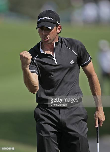 Sergio Garcia of Spain saves a par on during the final round of THE PLAYERS Championship on THE PLAYERS Stadium Course at TPC Sawgrass held on May...