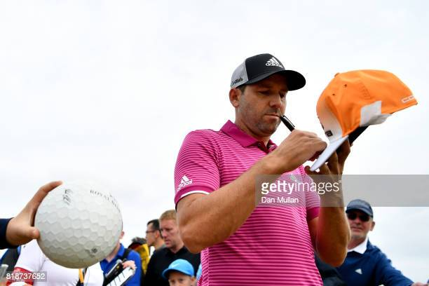 Sergio Garcia of Spain signs autographs during a practice round prior to the 146th Open Championship at Royal Birkdale on July 19 2017 in Southport...
