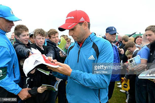Sergio Garcia of Spain signs autographs during the second practice round prior to the start of the 141st Open Championship at Royal Lytham St Annes...