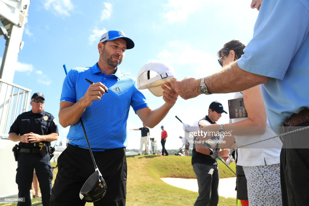 Sergio Garcia of Spain signs autographs for fans during a practise round for the WGC Dell Match Play at Austin Country Club on March 21, 2017 in Austin, Texas.