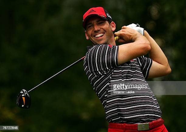 Sergio Garcia of Spain smiles as he waits on the 4th tee box during the first round of the TOUR Championship at East Lake Golf Club on September 13...
