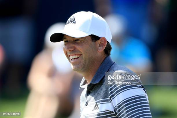Sergio Garcia of Spain smiles during a practice round prior to The PLAYERS Championship at the TPC Stadium course on March 11 2020 in Ponte Vedra...
