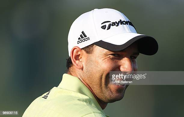 Sergio Garcia of Spain smiles on the practice range during the second round of THE PLAYERS Championship held at THE PLAYERS Stadium course at TPC...