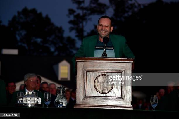 Sergio Garcia of Spain speaks after being presented with the Green Jacket after he won in a playoff during the final round of the 2017 Masters...
