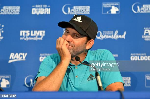Sergio Garcia of Spain speaks at a press conference during day one of the 2017 Australian PGA Championship at Royal Pines Resort on November 30 2017...