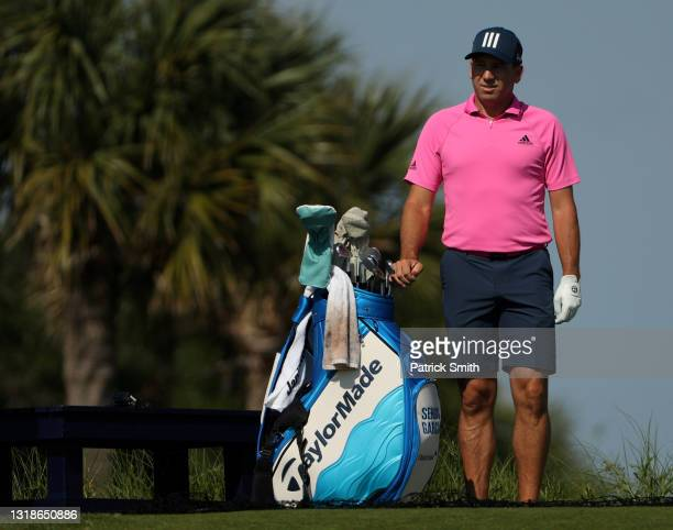Sergio Garcia of Spain stands with his bag during a practice round prior to the 2021 PGA Championship at Kiawah Island Resort's Ocean Course on May...