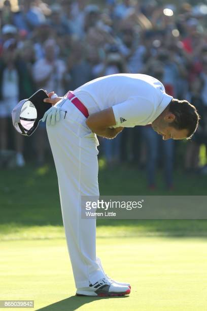 Sergio Garcia of Spain takes a bow after his victory on the 18th green during the final round of of the Andalucia Valderrama Masters at Real Club...