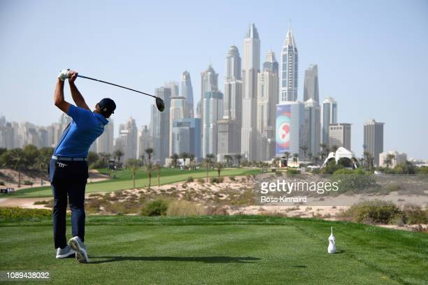 Sergio Garcia of Spain takes his tee shot on hole eight during Day Three of the Omega Dubai Desert Classic at Emirates Golf Club on January 26 2019...