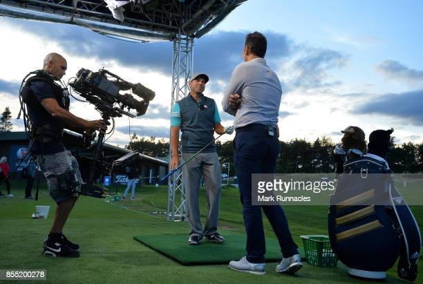 Sergio Garcia of Spain takes part in a live televised Sky Master Class with Nick Dougherty of Sky Sports during the first day of the British Masters...