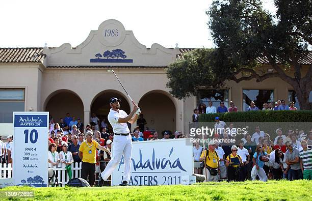 Sergio Garcia of Spain tee's off at the 10th during the final round of the Andalucia Masters at Valderrama on October 30 2011 in Sotogrande Spain