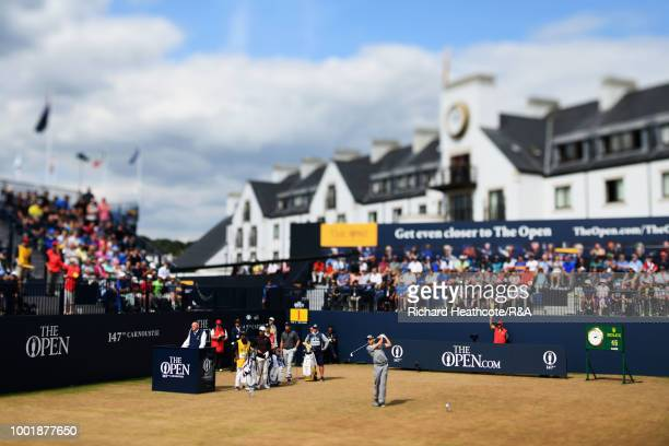 Sergio Garcia of Spain tees off at the 1st hole during round one of the 147th Open Championship at Carnoustie Golf Club on July 19 2018 in Carnoustie...