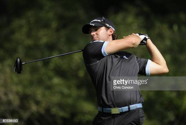 Sergio Garcia of Spain tees off on during the final round of The Barclays held at the Ridgewood Country Club on August 24 2008 in Paramus New Jersey...