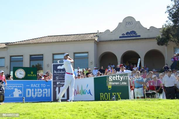 Sergio Garcia of Spain tees off on the 10th hole during the final round of of the Andalucia Valderrama Masters at Real Club Valderrama on October 22...