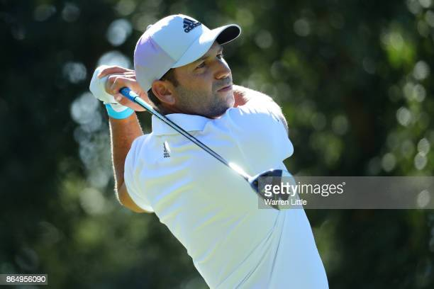 Sergio Garcia of Spain tees off on the 2nd hole during the final round of of the Andalucia Valderrama Masters at Real Club Valderrama on October 22...