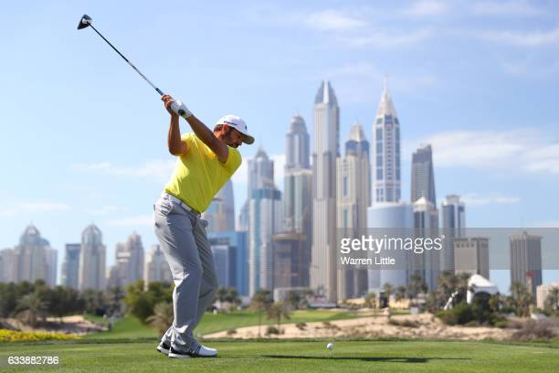 Sergio Garcia of Spain tees off on the 8th hole during the final round of the Omega Dubai Desert Classic at Emirates Golf Club on February 5, 2017 in...