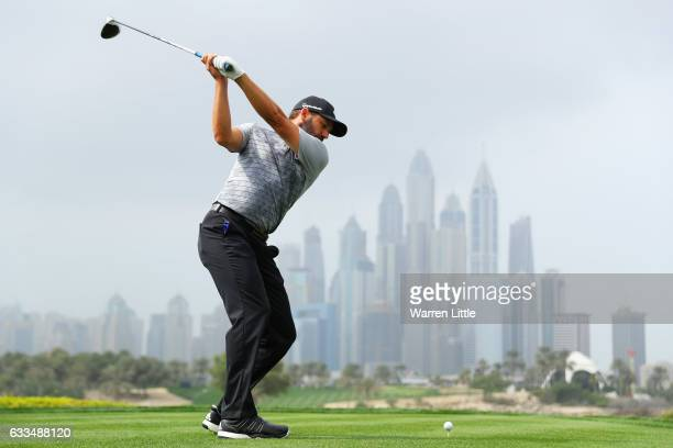 Sergio Garcia of Spain tees off on the 8th hole during the first round of the Omega Dubai Desert Classic at Emirates Golf Club on February 2, 2017 in...