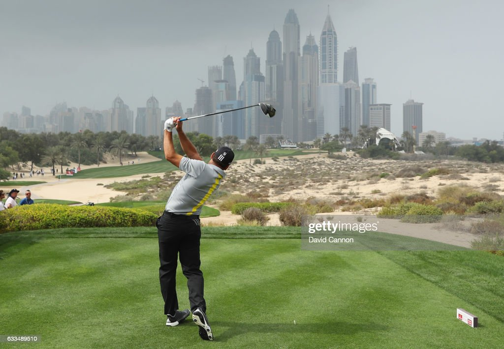 Sergio Garcia of Spain tees off on the 8th hole during the first round of the Omega Dubai Desert Classic at Emirates Golf Club on February 2, 2017 in Dubai, United Arab Emirates.