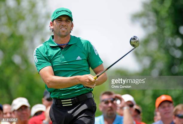 Sergio Garcia of Spain tees off on the first hole during the second round of the Memorial Tournament Presented by Morgan Stanley at Muirfield Village...