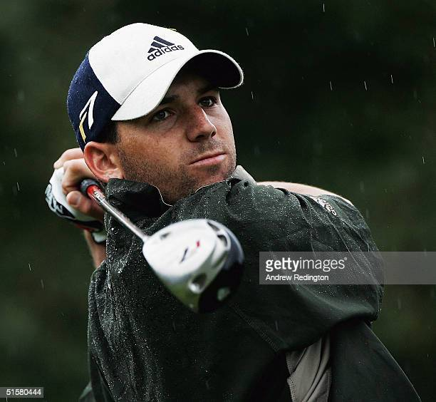 Sergio Garcia of Spain tees off on the second hole during the Proam prior to the 2004 Volvo Masters at the Valderrama Golf Club on October 27 2004 in...
