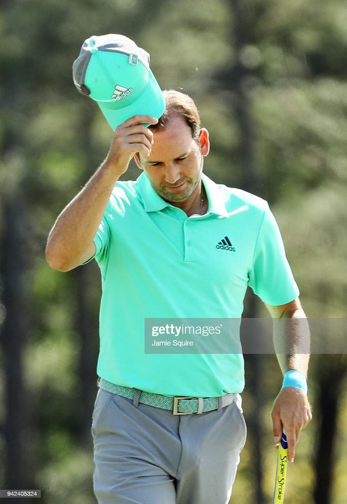 Sergio Garcia of Spain tips his cap on the 18th green during the first round of the 2018 Masters Tournament at Augusta National Golf Club on April 5, 2018 in Augusta, Georgia.