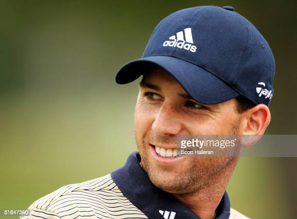 Sergio Garcia of Spain waits on the practice tee during the Pro-Am at the PGA Tour Championship at East Lake Golf Club on October 31, 2004 in...