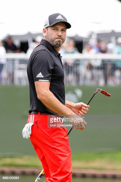 Sergio Garcia of Spain walks off the green on during the third round of the ATT Byron Nelson on May 20 2017 at the TPC Four Seasons Resort in Irving...