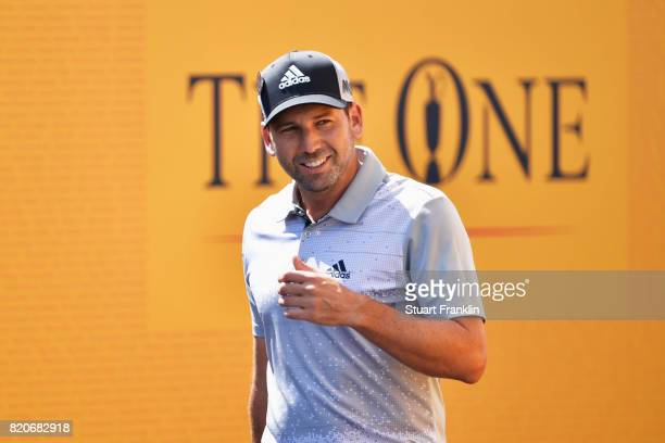Sergio Garcia of Spain walks onto the 1st tee during the third round of the 146th Open Championship at Royal Birkdale on July 22 2017 in Southport...