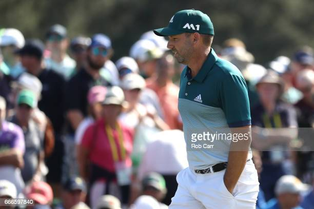 Sergio Garcia of Spain walks to the ninth green during the final round of the 2017 Masters Tournament at Augusta National Golf Club on April 9 2017...