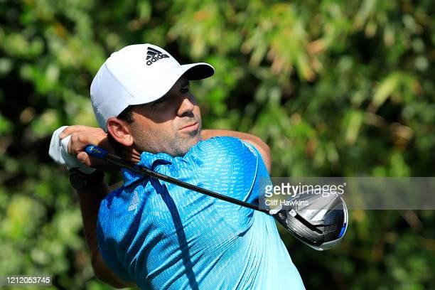 Sergio Garcia of Spain watches his drive on the ninth hole during the first round of The PLAYERS Championship on The Stadium Course at TPC Sawgrass...