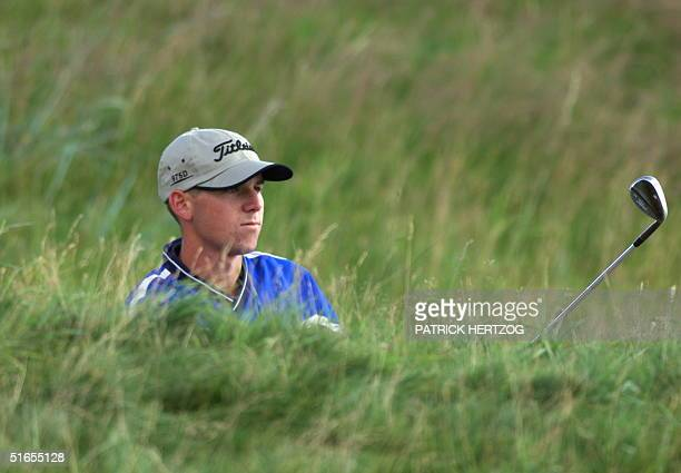 Sergio Garcia of Spain watches his shot from the high rough of the 1st hole at Carnoustie 15 July 1999 during first round play of the 128th British...