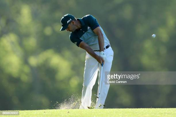 Sergio Garcia of Spain watches his shot on the 14th hole during the final round of the 2017 Masters Tournament at Augusta National Golf Club on April...