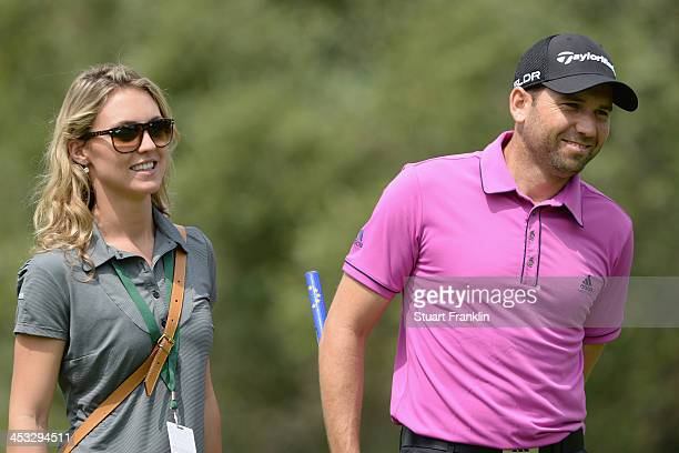 Sergio Garcia of Spain with his friend Katharina Boehm during the pro am prior to the start of the Nedban Golf Challenge at Gary Player CC on...