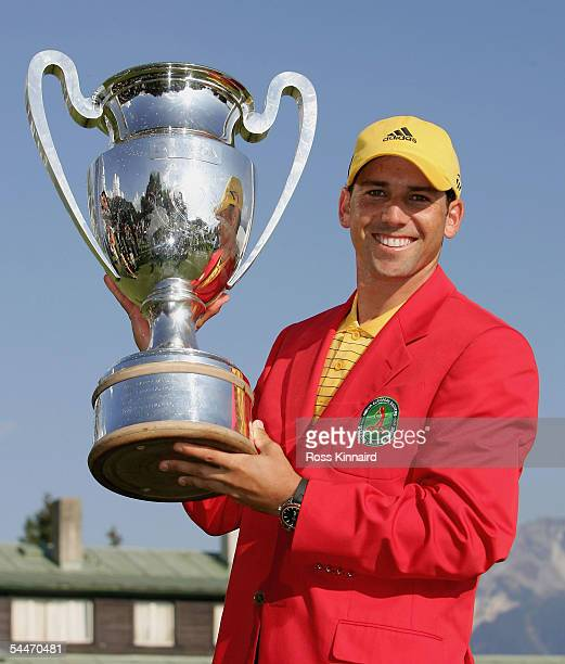 Sergio Garcia of Spain with the winners trophy after the final round of The Omega European Masters at the CranssurSierre Golf Club on September 4 in...