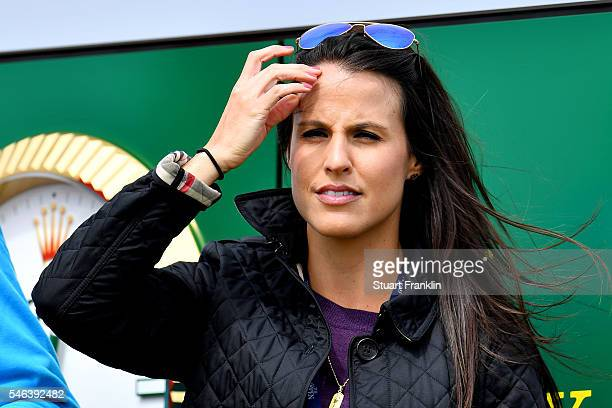 Sergio Garcia of Spain's girlfriend Angela Akins watches him during a practice round ahead of the 145th Open Championship at Royal Troon on July 12...