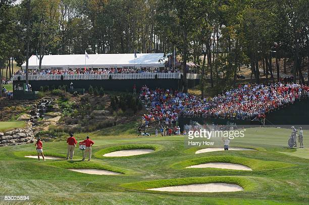 Sergio Garcia of the European team plays from a bunker on the 13th hole during the singles matches on the final day of the 2008 Ryder Cup at Valhalla...