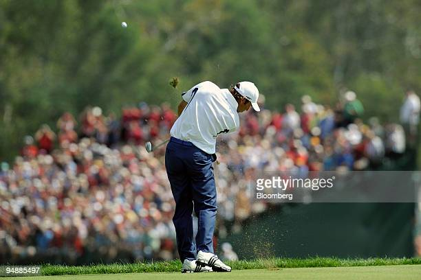 Sergio Garcia of the European team tees off on the 8th hole during a singles match against Anthony Kim of the US team on day three of the 37th Ryder...
