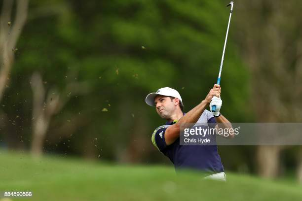 Sergio Garcia plays from the bunker during day four of the 2017 Australian PGA Championship at Royal Pines Resort on December 3 2017 in Gold Coast...