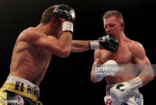 Sergio Garcia punches Ted Cheeseman during the EBU SuperWelterweight Championship title fight between Sergio Garcia and Ted Cheeseman at The O2 Arena...
