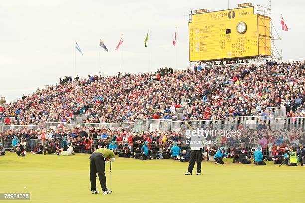 Sergio Garcia reacts to a missed putt at the 18th hole during the fourth round of the 136th Open Championship in Carnoustie Scotland at Carnoustie...
