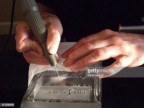 Sergio Garcia's name is engraved in the trophy after the final round of THE PLAYERS Championship on THE PLAYERS Stadium Course at TPC Sawgrass held...