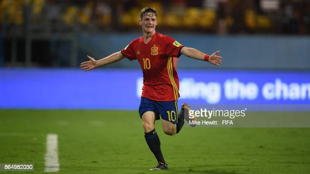 Sergio Gomez of Spain celebrates after scoring during the FIFA U17 World Cup India 2017 Quarter Final match between Spain and Iran at the Jawaharlal...