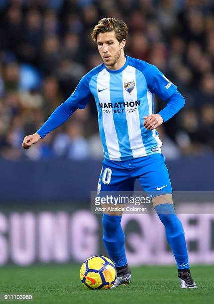 Sergio Gontan Keko of Malaga CF in action during the La Liga match between Malaga and Girona at Estadio La Rosaleda on January 27 2018 in Malaga