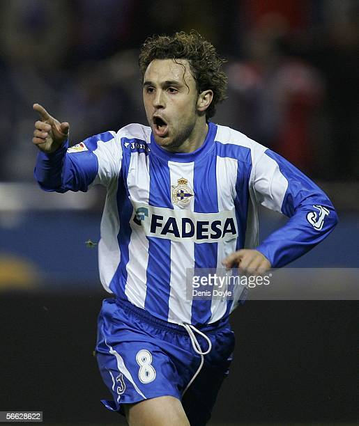 Sergio Gonzalez of Deportivo La Coruna celebrates after scoring a goal against Valencia during a Copa del Rey quarter final first leg match between...