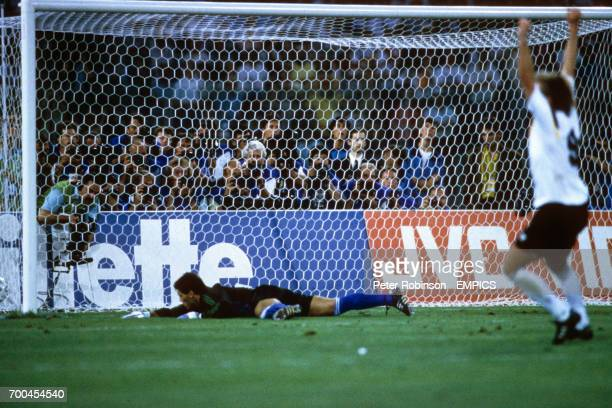 Sergio Goycochea can't keep out the penalty by Andreas Brehme