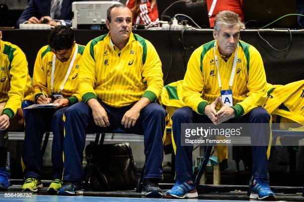 Sergio Graciano Assistant coach of Brazil and Jorge Duenas head coach of Brazil during the handball women's international friendly match between...