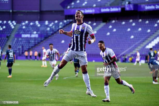 Sergio Guardiola Navarro of Real Valladolid CF celebrates after scoring his sides first goal during the La Liga Santander match between Real...