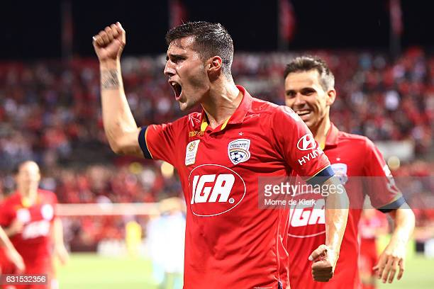 Sergio Guardiola of Adelaide United celebrates after the winning goal was scored by Mark Ochieng of Adelaide United during the round 15 ALeague match...