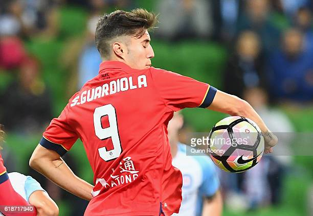 Sergio Guardiola of United arm touches the ball resulting in a goal to Bruno Fornaroli of the City during the round four ALeague match between...