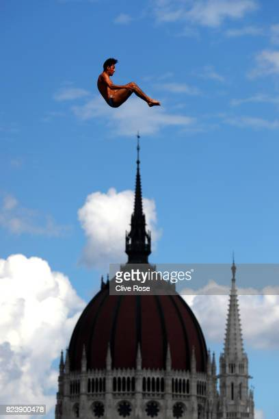 Sergio Guzman of Mexico competes during the Men's High Dive preliminary round on day fifteen of the Budapest 2017 FINA World Championships on July 28...